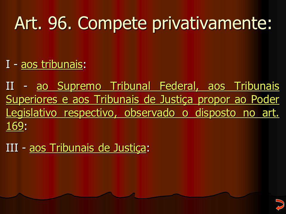 Art. 96. Compete privativamente: