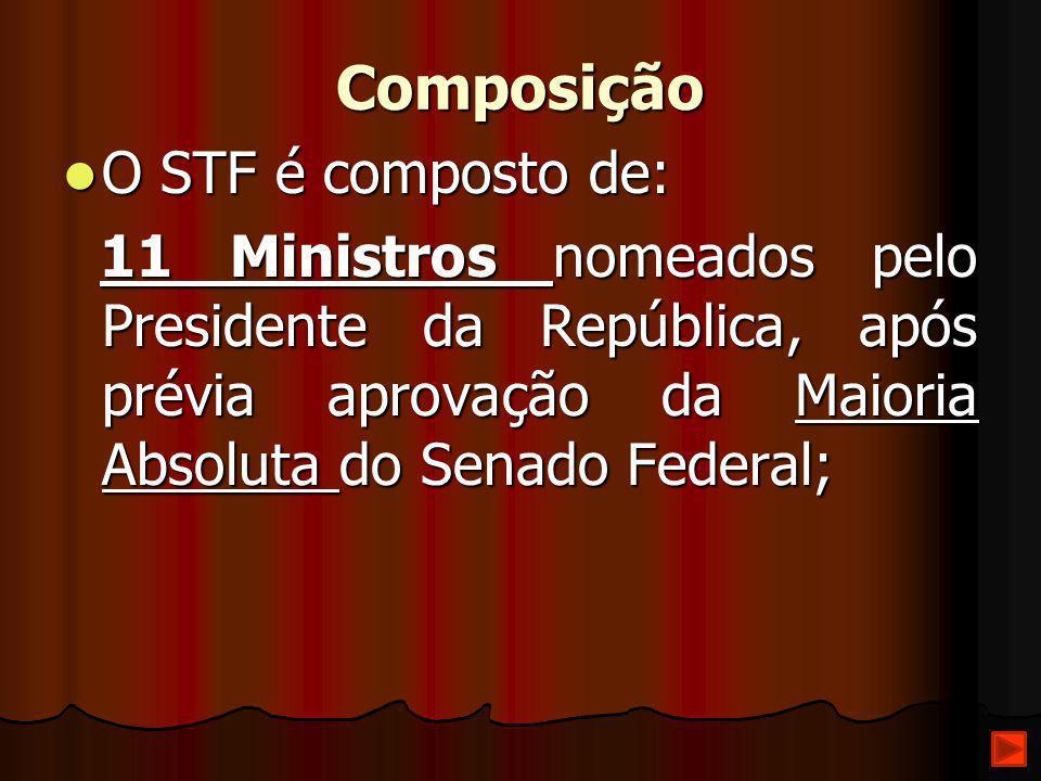 Composição O STF é composto de: