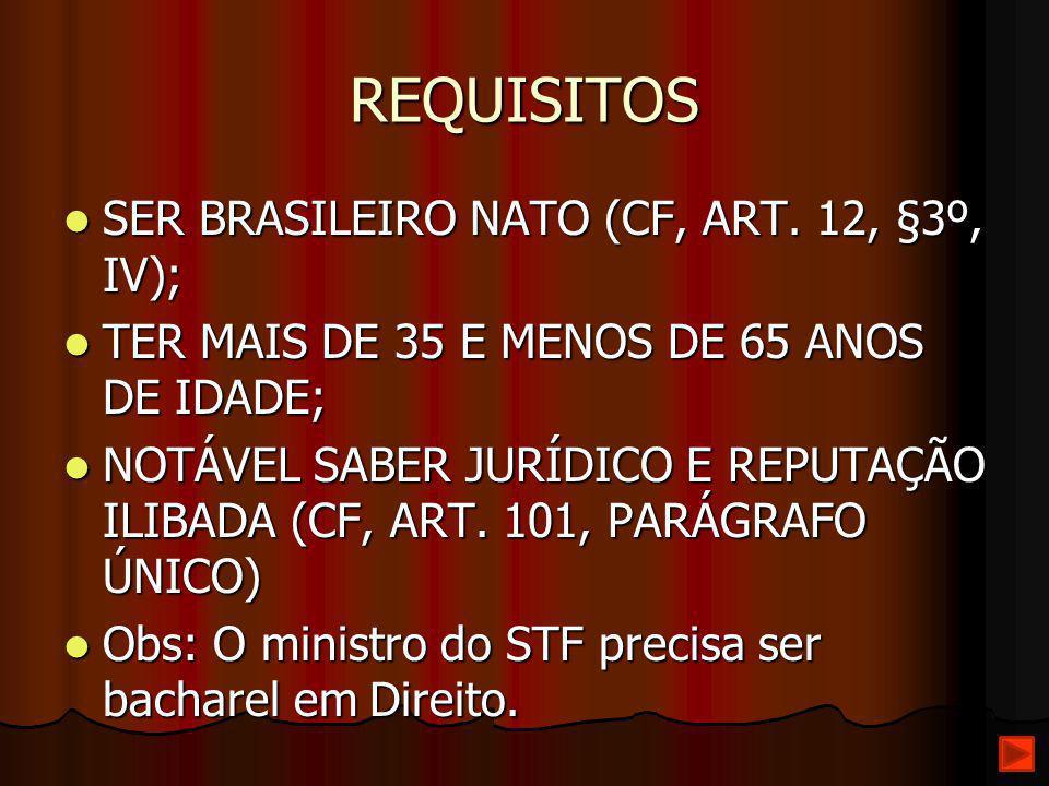 REQUISITOS SER BRASILEIRO NATO (CF, ART. 12, §3º, IV);