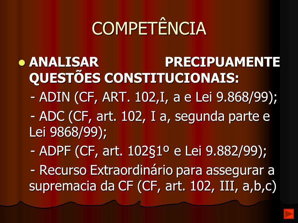 COMPETÊNCIA ANALISAR PRECIPUAMENTE QUESTÕES CONSTITUCIONAIS: