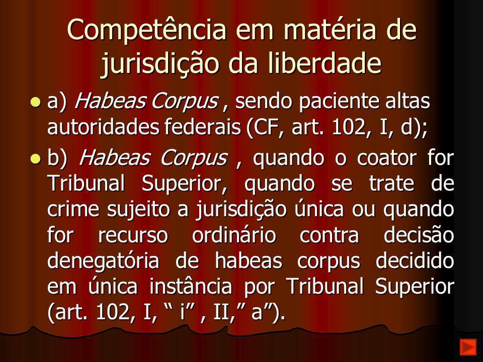 Competência em matéria de jurisdição da liberdade