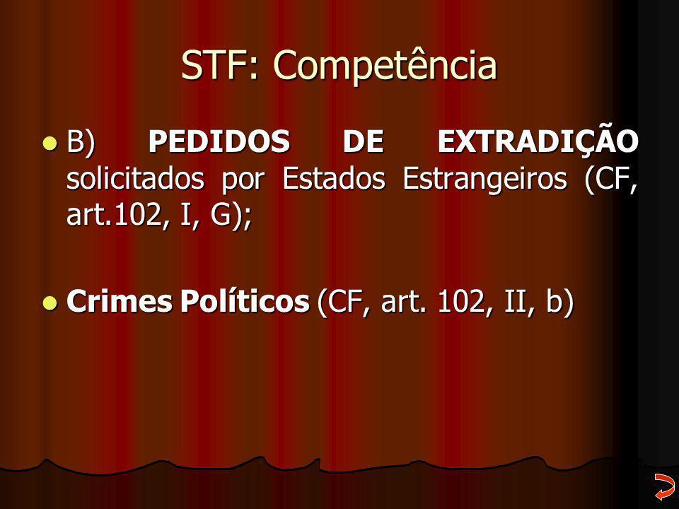 STF: Competência B) PEDIDOS DE EXTRADIÇÃO solicitados por Estados Estrangeiros (CF, art.102, I, G);