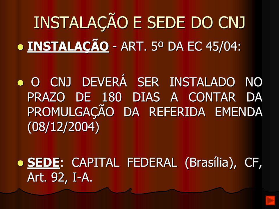 INSTALAÇÃO E SEDE DO CNJ