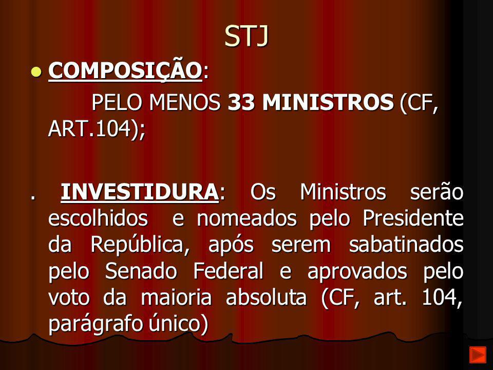 STJ COMPOSIÇÃO: PELO MENOS 33 MINISTROS (CF, ART.104);