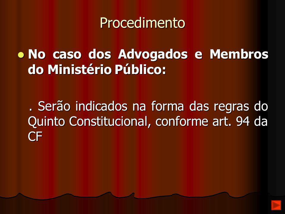 Procedimento No caso dos Advogados e Membros do Ministério Público: