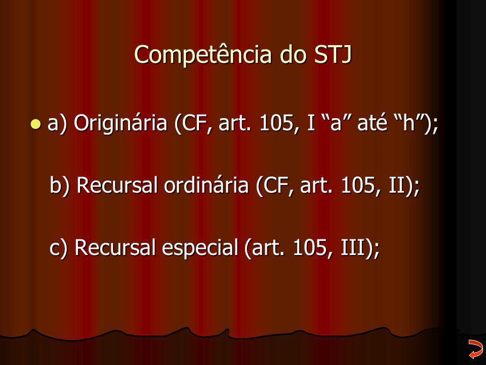 Competência do STJ a) Originária (CF, art. 105, I a até h );