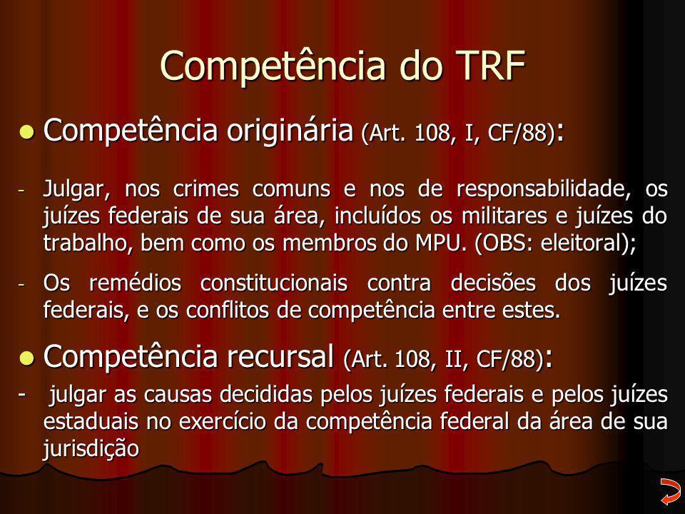 Competência do TRF Competência originária (Art. 108, I, CF/88):