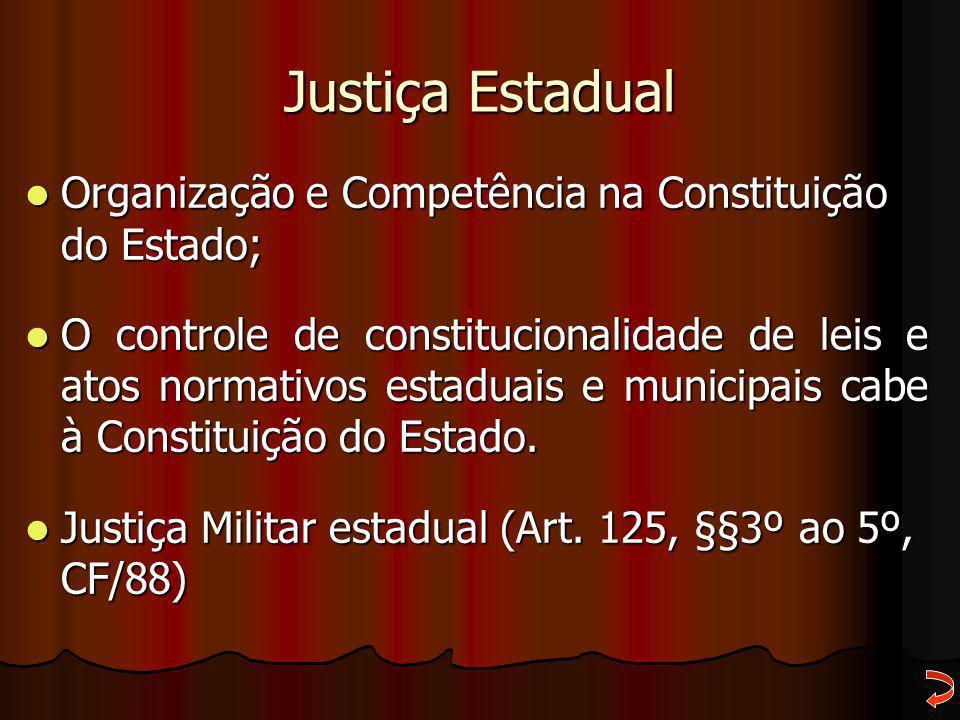 Justiça Estadual Organização e Competência na Constituição do Estado;