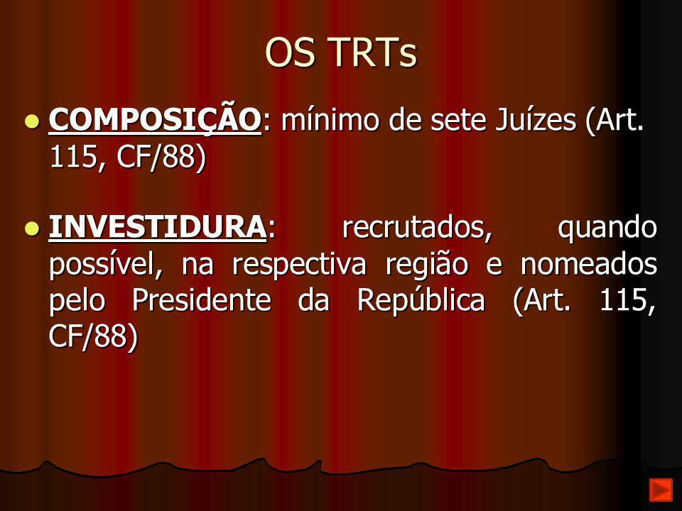 OS TRTs COMPOSIÇÃO: mínimo de sete Juízes (Art. 115, CF/88)
