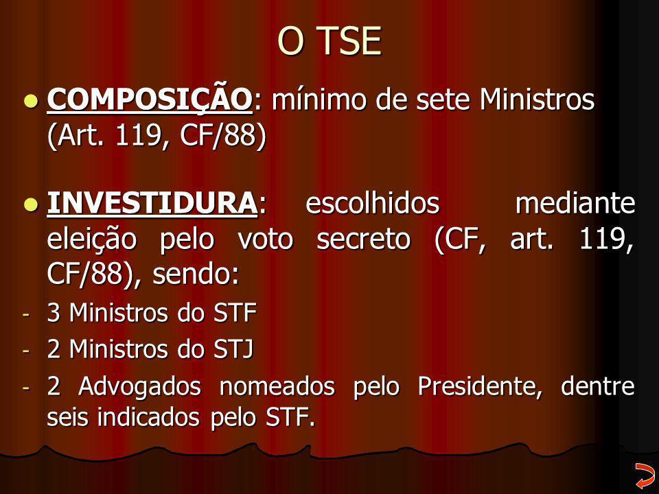 O TSE COMPOSIÇÃO: mínimo de sete Ministros (Art. 119, CF/88)