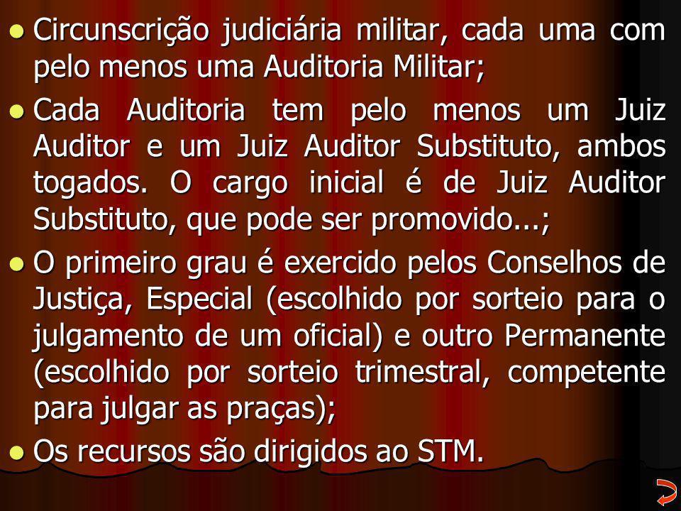 Circunscrição judiciária militar, cada uma com pelo menos uma Auditoria Militar;