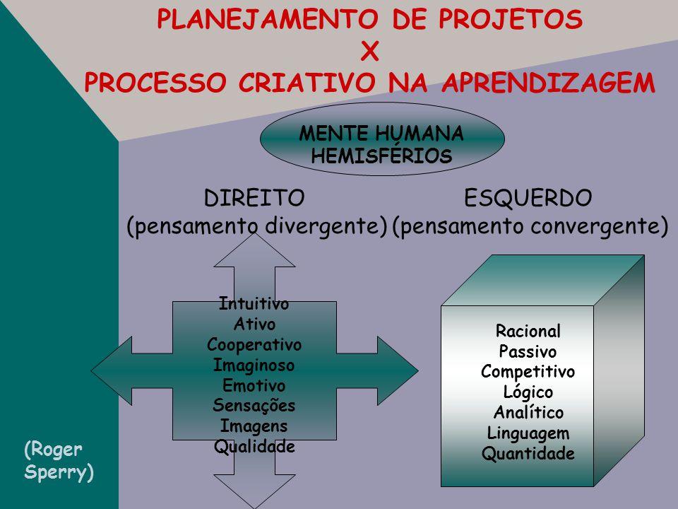 PLANEJAMENTO DE PROJETOS X PROCESSO CRIATIVO NA APRENDIZAGEM