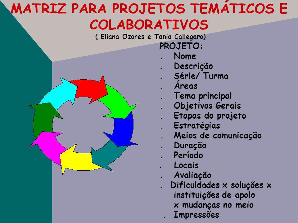 MATRIZ PARA PROJETOS TEMÁTICOS E COLABORATIVOS