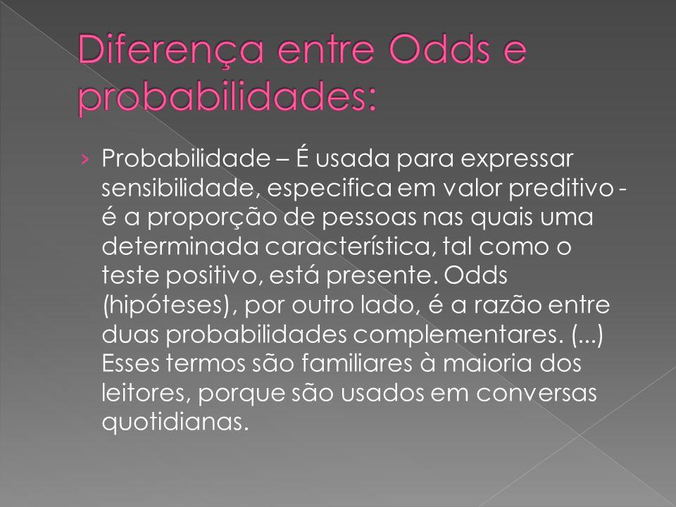 Diferença entre Odds e probabilidades: