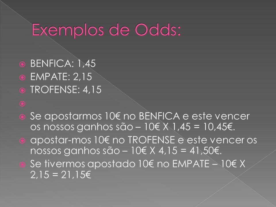 Exemplos de Odds: BENFICA: 1,45 EMPATE: 2,15 TROFENSE: 4,15