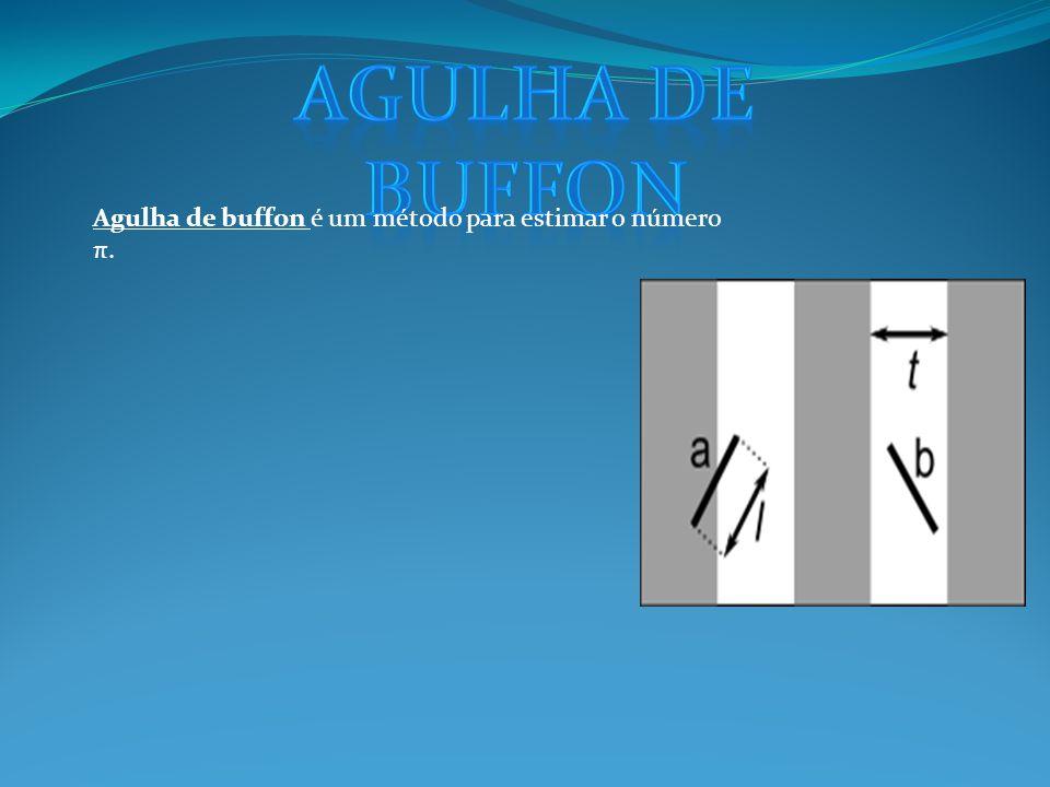 Agulha de buffon Agulha de buffon é um método para estimar o número π.