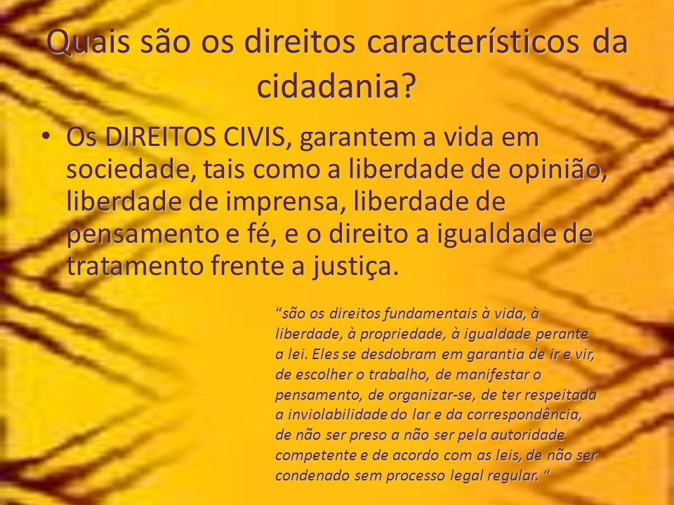 Quais são os direitos característicos da cidadania