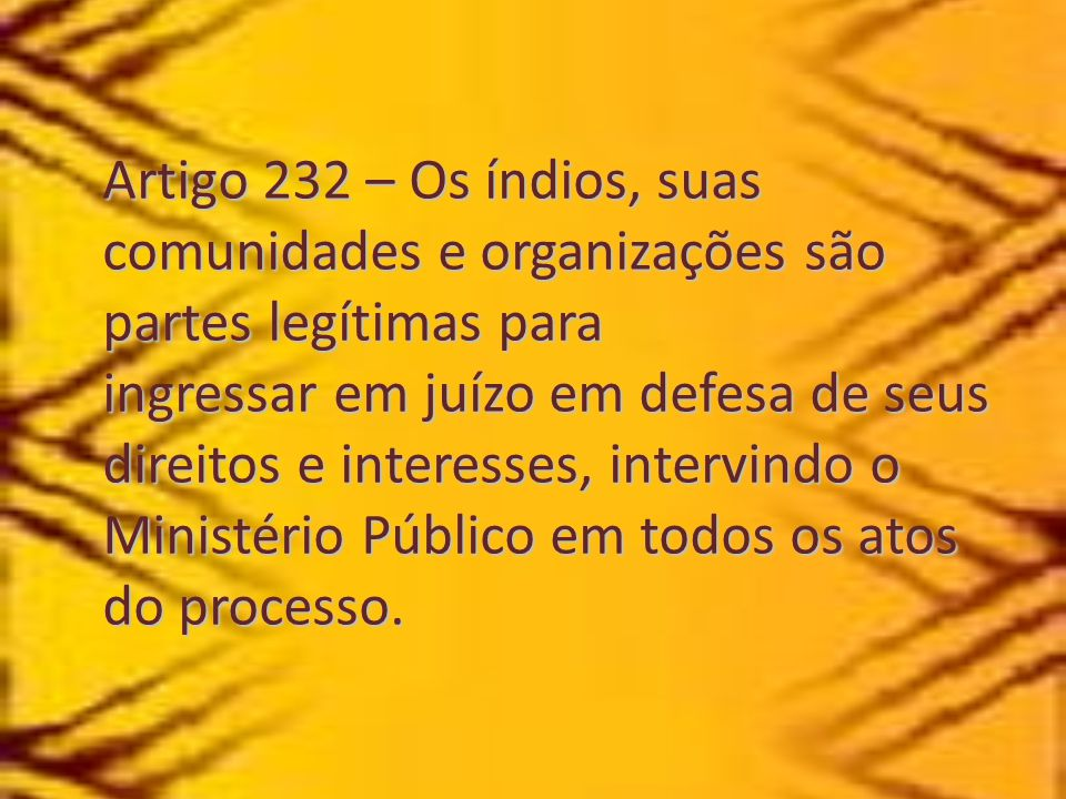 Artigo 232 – Os índios, suas comunidades e organizações são partes legítimas para ingressar em juízo em defesa de seus direitos e interesses, intervindo o Ministério Público em todos os atos do processo.