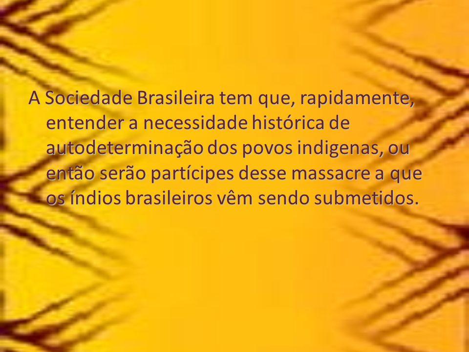 A Sociedade Brasileira tem que, rapidamente, entender a necessidade histórica de autodeterminação dos povos indigenas, ou então serão partícipes desse massacre a que os índios brasileiros vêm sendo submetidos.