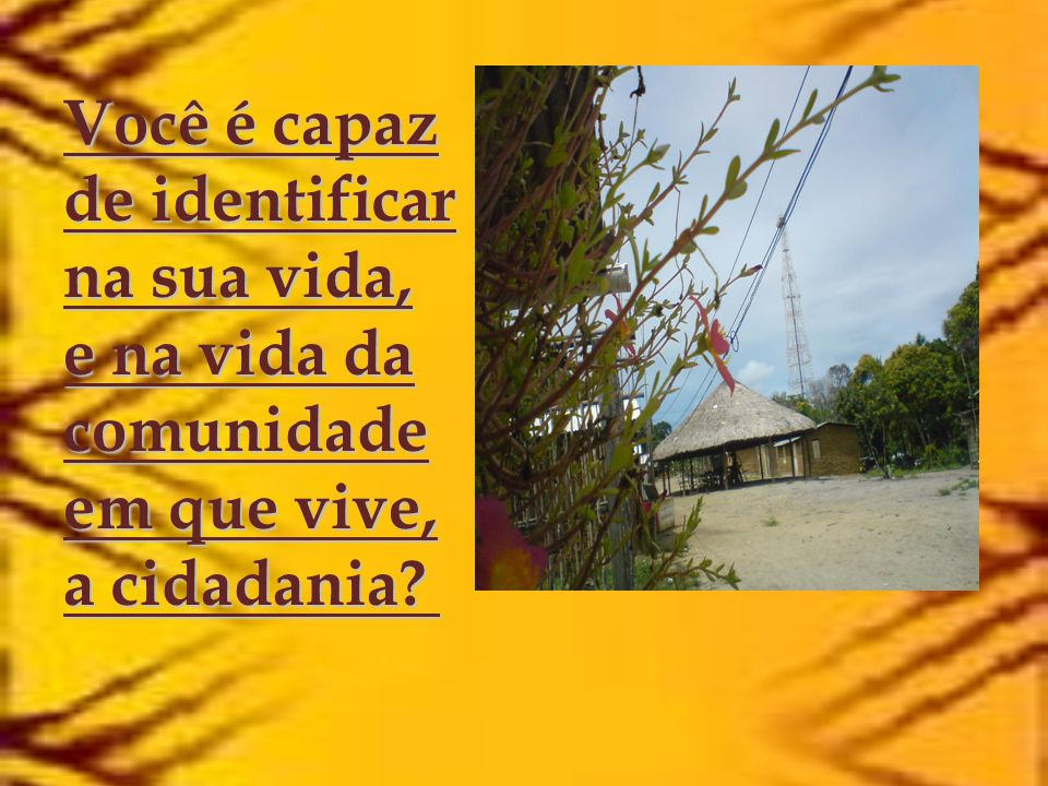 Você é capaz de identificar na sua vida, e na vida da comunidade em que vive, a cidadania
