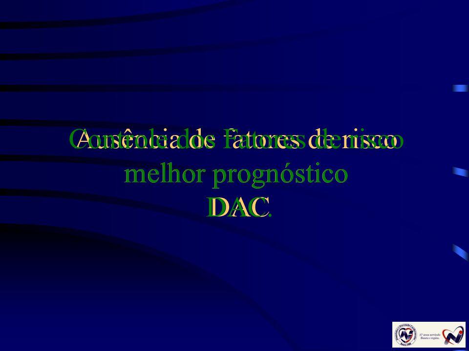 Ausência de fatores de risco melhor prognóstico DAC