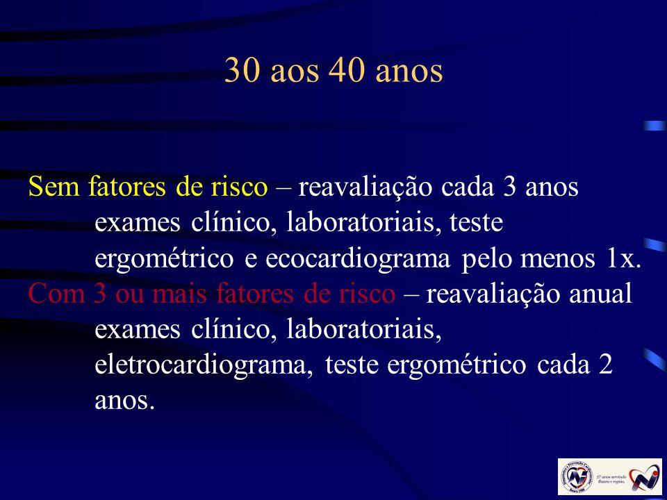 30 aos 40 anos Sem fatores de risco – reavaliação cada 3 anos