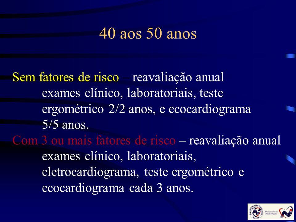 40 aos 50 anos Sem fatores de risco – reavaliação anual