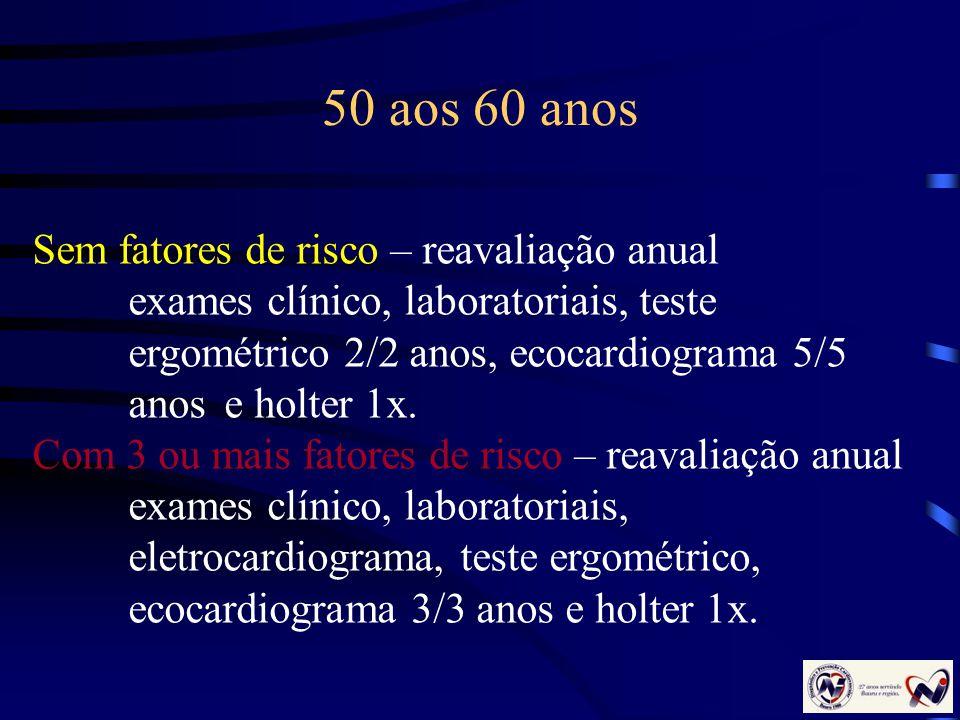 50 aos 60 anos Sem fatores de risco – reavaliação anual