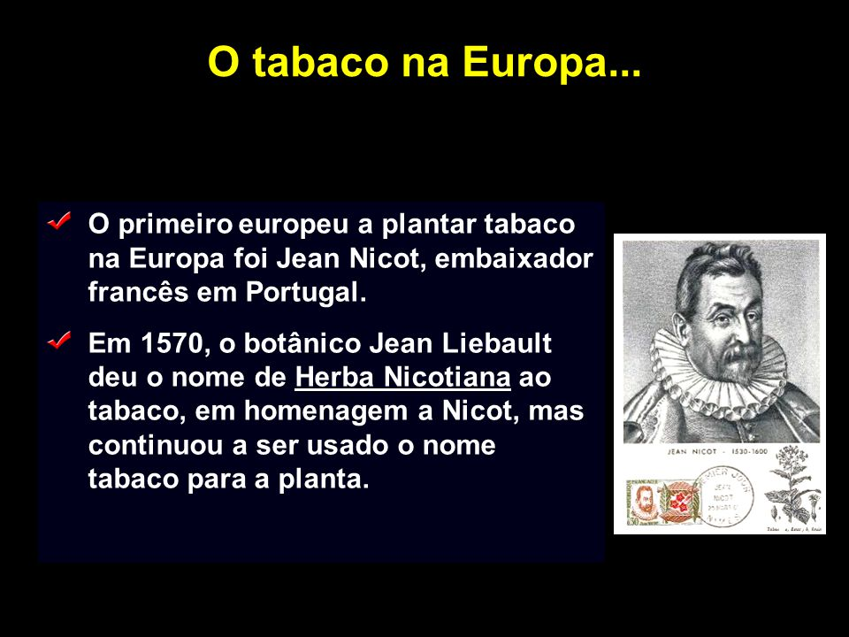 O tabaco na Europa... O primeiro europeu a plantar tabaco na Europa foi Jean Nicot, embaixador francês em Portugal.