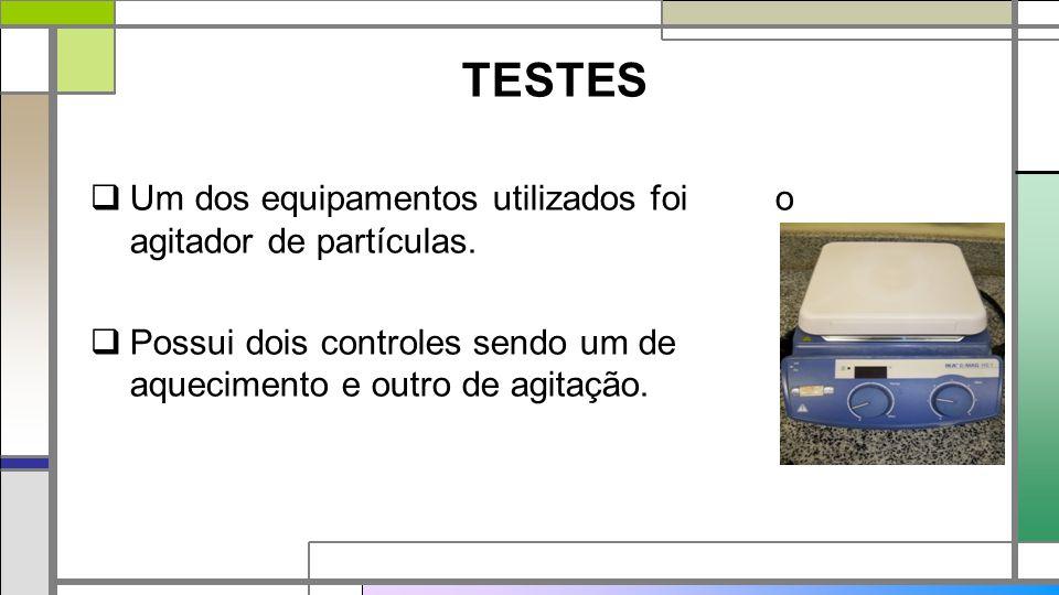 TESTES Um dos equipamentos utilizados foi o agitador de partículas.