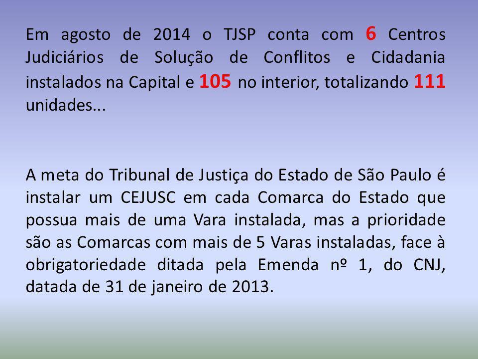 Em agosto de 2014 o TJSP conta com 6 Centros Judiciários de Solução de Conflitos e Cidadania instalados na Capital e 105 no interior, totalizando 111 unidades...