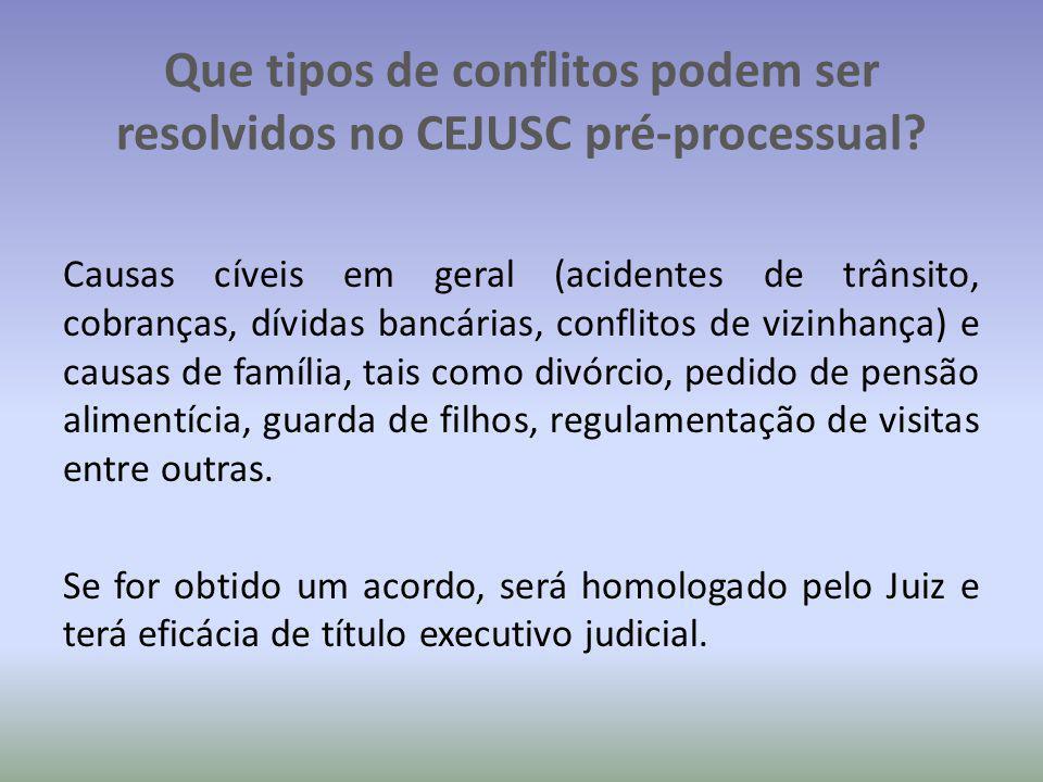 Que tipos de conflitos podem ser resolvidos no CEJUSC pré-processual