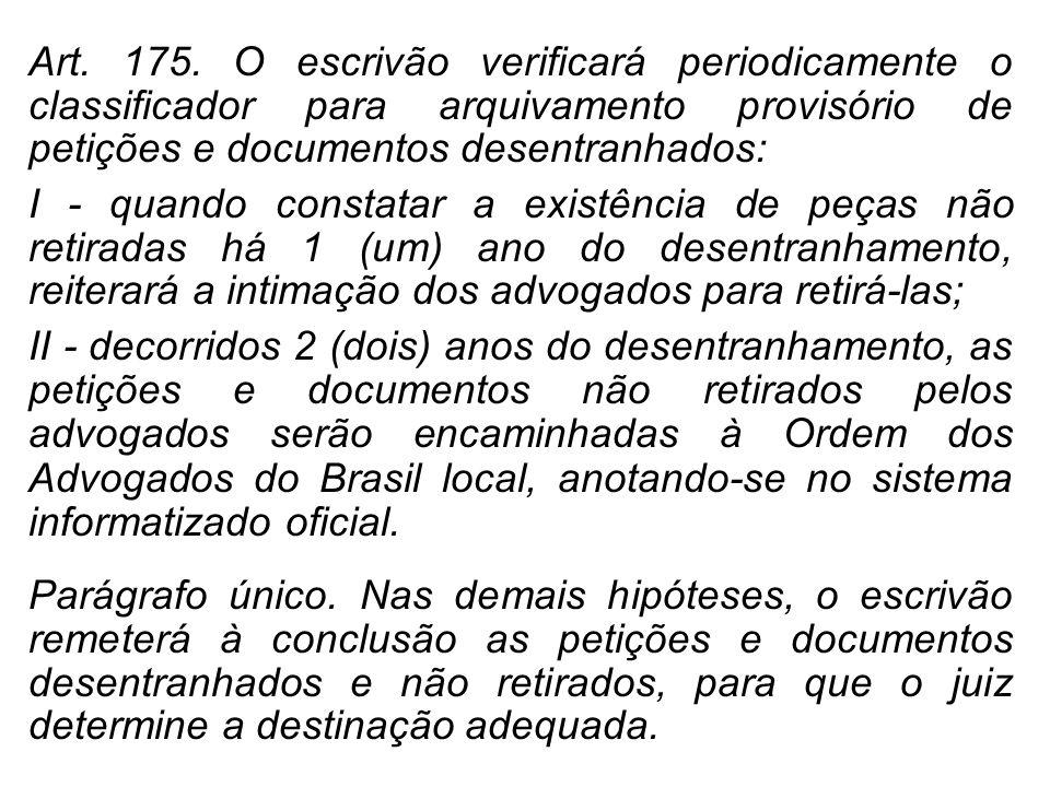 Art. 175. O escrivão verificará periodicamente o classificador para arquivamento provisório de petições e documentos desentranhados: