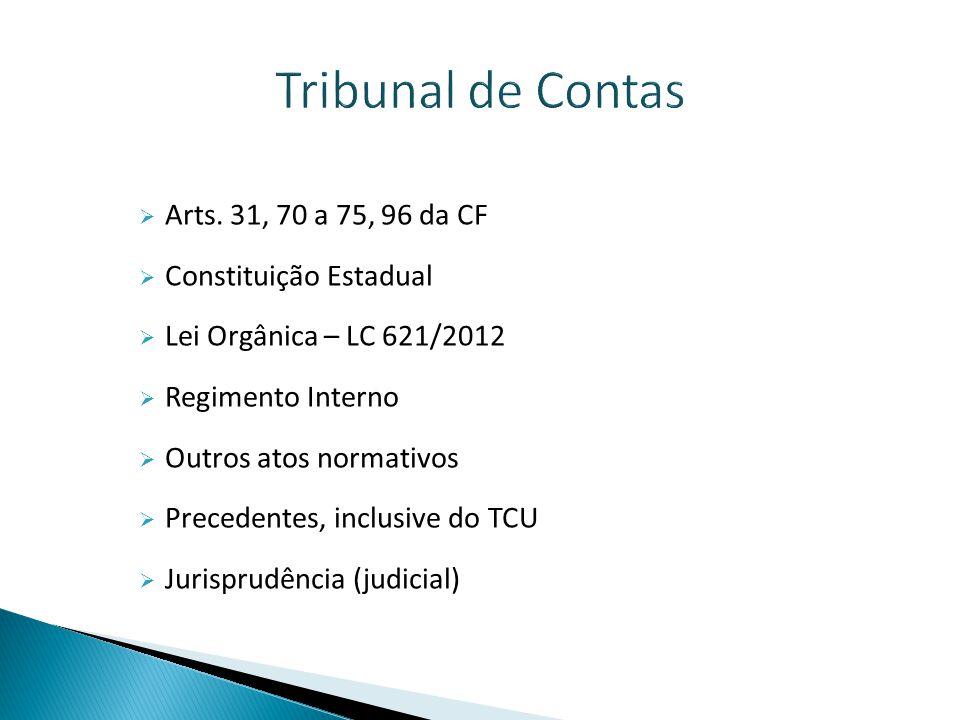 Tribunal de Contas Arts. 31, 70 a 75, 96 da CF Constituição Estadual