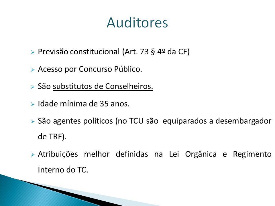 Auditores Previsão constitucional (Art. 73 § 4º da CF)