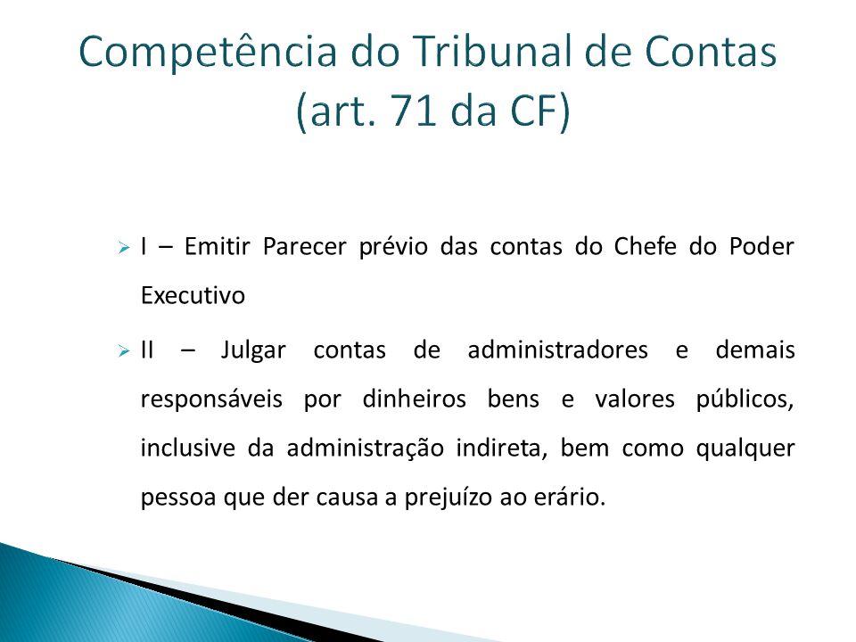 Competência do Tribunal de Contas (art. 71 da CF)
