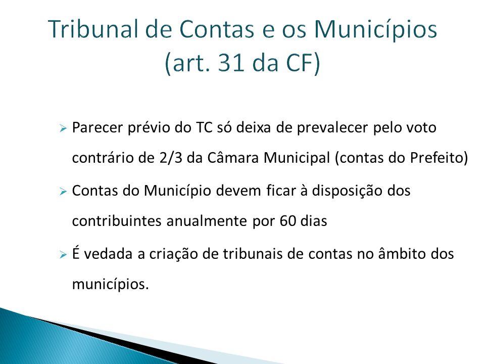 Tribunal de Contas e os Municípios (art. 31 da CF)