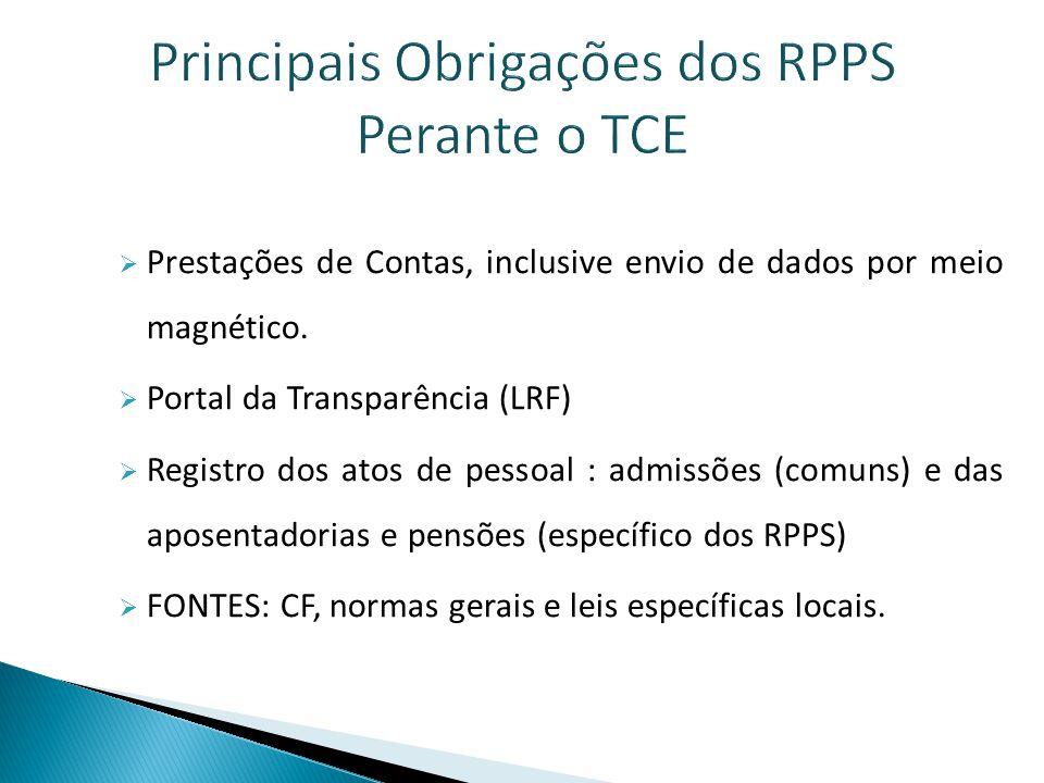 Principais Obrigações dos RPPS Perante o TCE