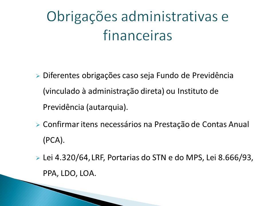 Obrigações administrativas e financeiras