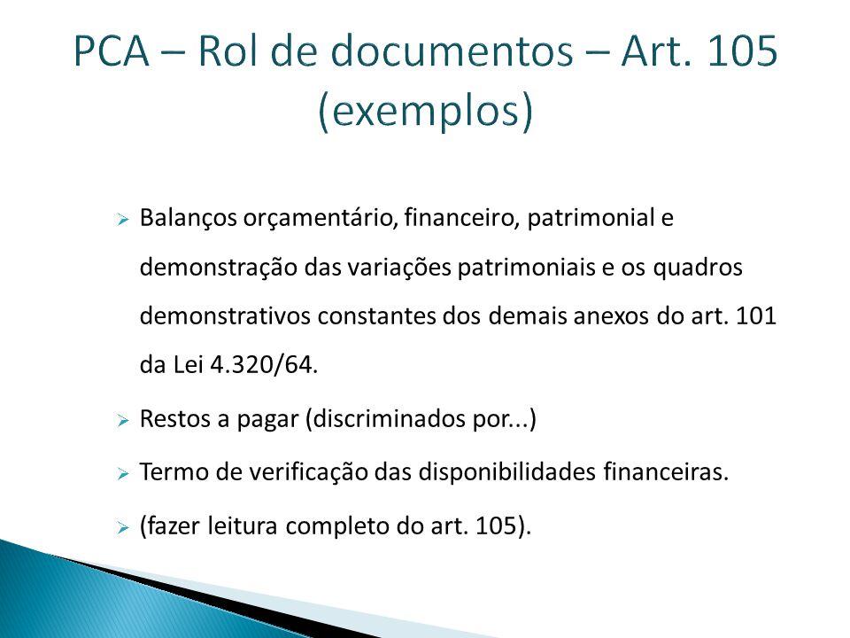 PCA – Rol de documentos – Art. 105 (exemplos)