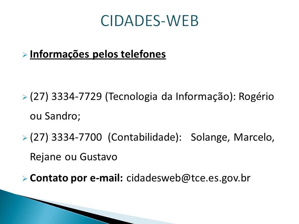 CIDADES-WEB Informações pelos telefones