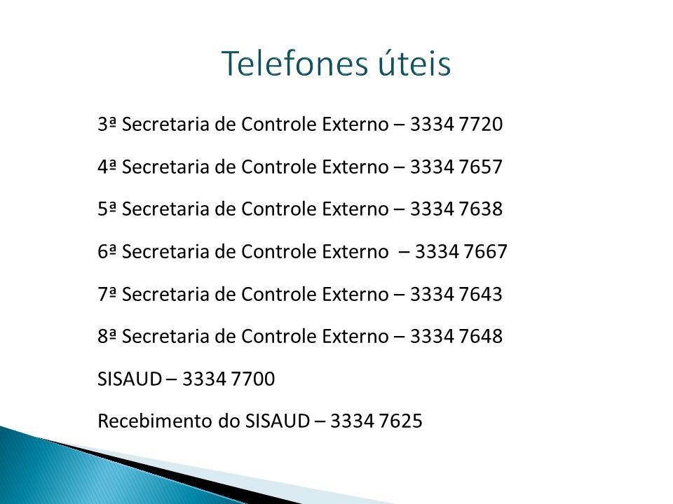 Telefones úteis 3ª Secretaria de Controle Externo – 3334 7720