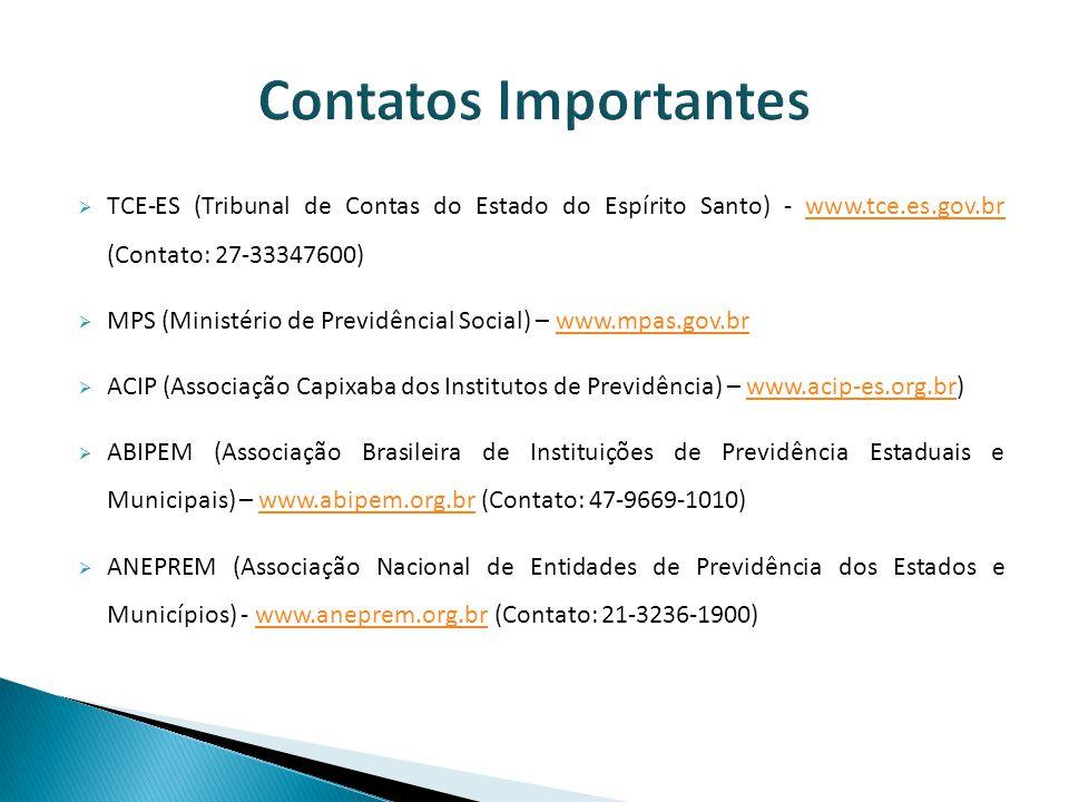 Contatos Importantes TCE-ES (Tribunal de Contas do Estado do Espírito Santo) - www.tce.es.gov.br (Contato: 27-33347600)