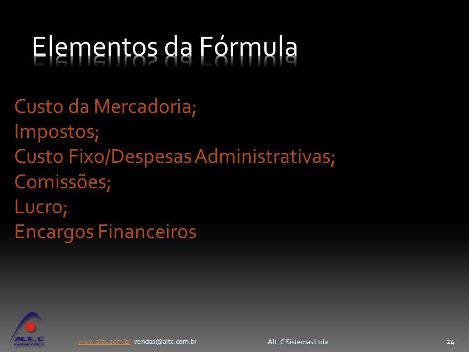 Elementos da Fórmula Custo da Mercadoria; Impostos;
