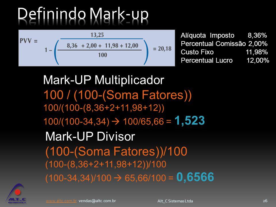 Definindo Mark-up Mark-UP Multiplicador 100 / (100-(Soma Fatores))