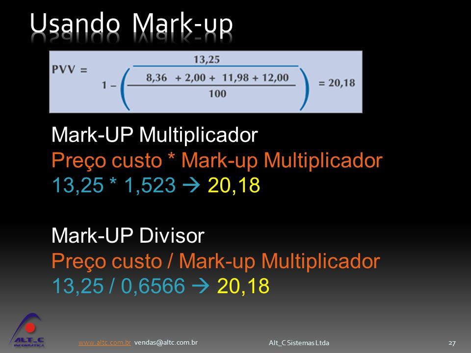 Usando Mark-up Mark-UP Multiplicador