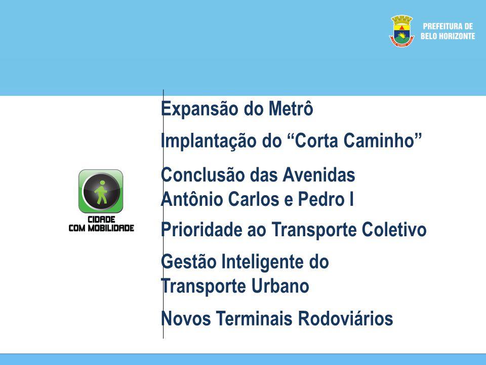 Expansão do Metrô Implantação do Corta Caminho Conclusão das Avenidas. Antônio Carlos e Pedro I.