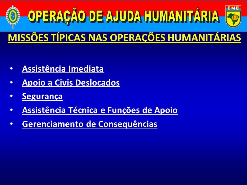 MISSÕES TÍPICAS NAS OPERAÇÕES HUMANITÁRIAS