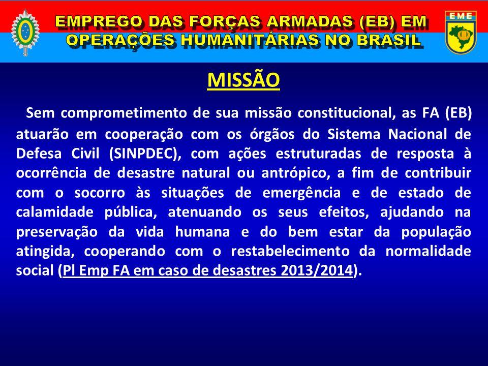 EMPREGO DAS FORÇAS ARMADAS (EB) EM OPERAÇÕES HUMANITÁRIAS NO BRASIL