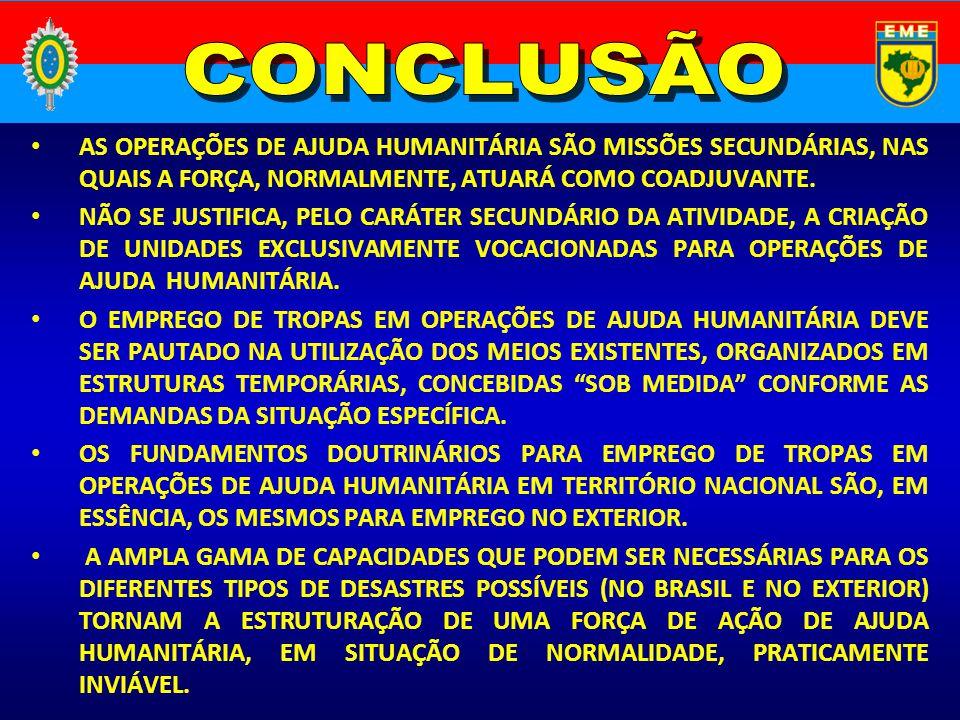 CONCLUSÃO AS OPERAÇÕES DE AJUDA HUMANITÁRIA SÃO MISSÕES SECUNDÁRIAS, NAS QUAIS A FORÇA, NORMALMENTE, ATUARÁ COMO COADJUVANTE.